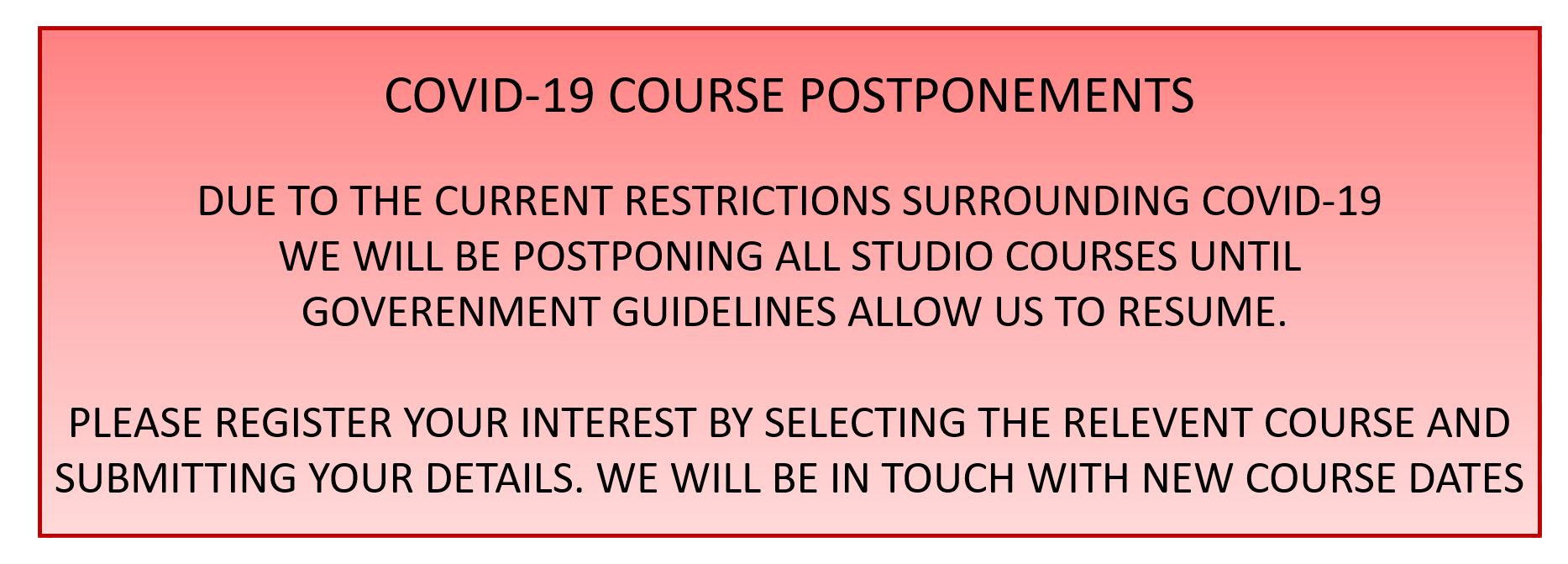 A message about impacts on courses resulting from COVID-19 restrictions