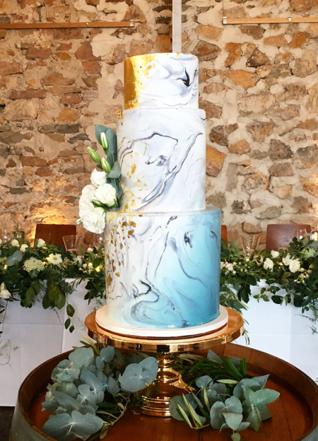 marbel and watercolour wedding cake
