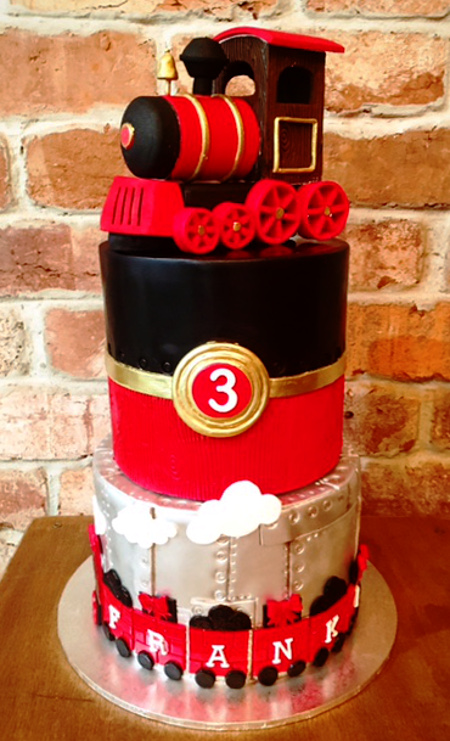 red and silver tran cake